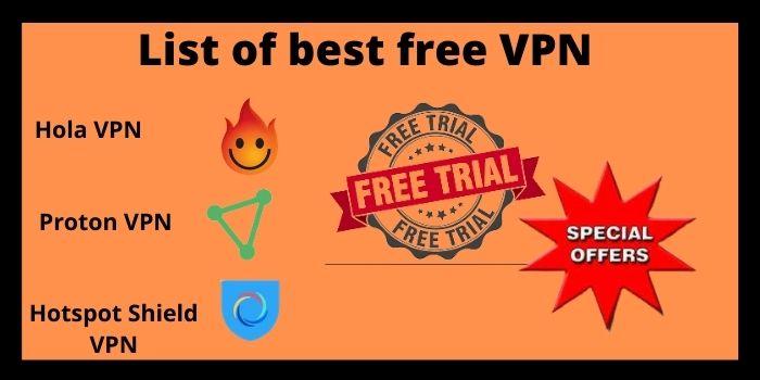 List of best free VPN